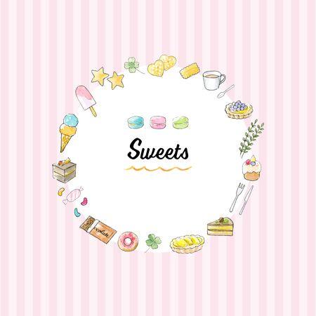 Illustration pour Watercolor Illustration frame of sweets - image libre de droit