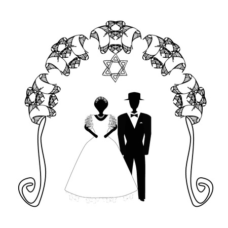 Illustration pour Vintage Graphic Chuppah. Arch for a religious Jewish Jewish wedding. The bride and groom under a canopy. Vector illustration on isolated background - image libre de droit