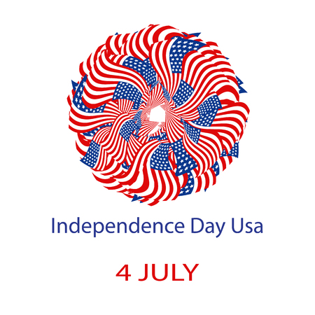 Illustration pour Independence Day United States of America. Mandala from the USA flag. Vector illustration on isolated background - image libre de droit