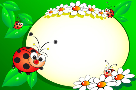 Illustration pour Kid scrapbook with ladybug and white daisies - Photo or message frames for children - image libre de droit