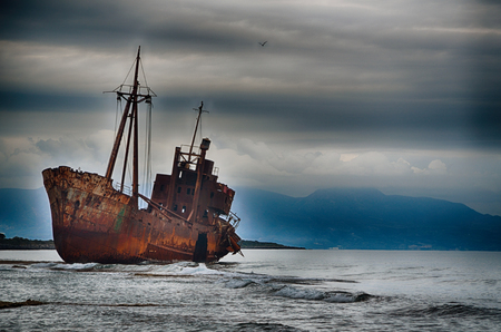 Photo for Abandoned ship on the beach, failure concept - Royalty Free Image