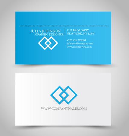 Foto de Business card set template for business identity corporate style. Blue and white color. Vector illustration. - Imagen libre de derechos
