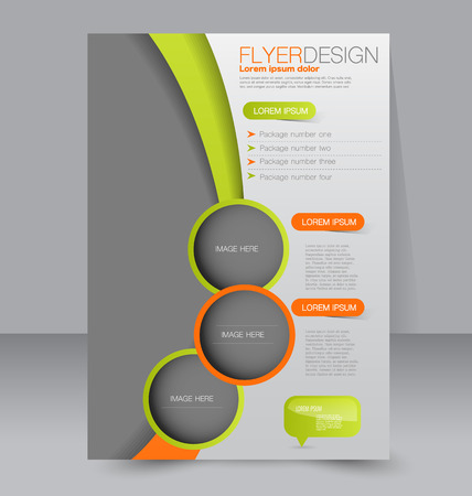Illustration pour Flyer template. Business brochure. Editable A4 poster for design, education, presentation, website, magazine cover. Green and orange color. - image libre de droit