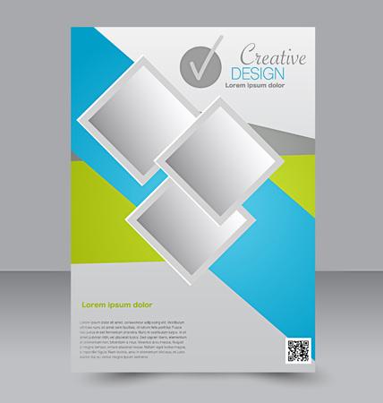 Illustration pour Flyer template. Business brochure. Editable A4 poster for design, education, presentation, website, magazine cover. Blue and green color. - image libre de droit