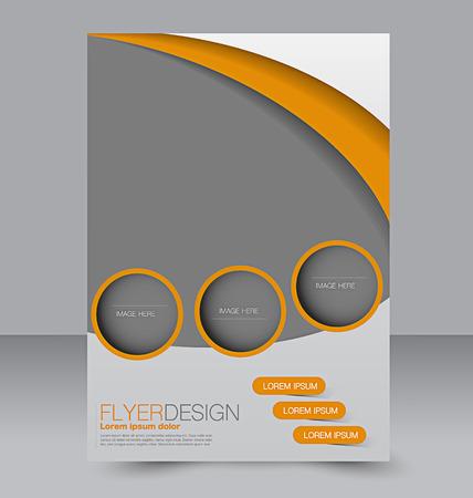 Illustration pour Flyer template. Business brochure. Editable A4 poster for design, education, presentation, website, magazine cover. Orange color. - image libre de droit