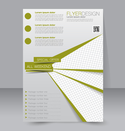 Illustration pour Flyer template. Business brochure. Editable A4 poster for design, education, presentation, website, magazine cover. Green color. - image libre de droit