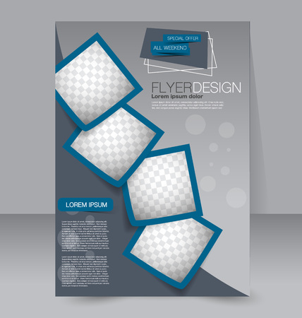 Ilustración de Brochure design. Flyer template. Editable A4 poster for business, education, presentation, website, magazine cover. Blue color. - Imagen libre de derechos