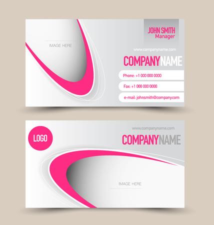 Illustration pour Business card set template. Banner design. Pink color. Corporate identity vector illustration. - image libre de droit