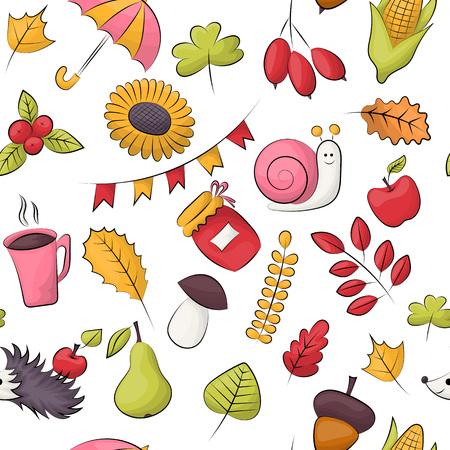 Ilustración de Autumn season theme. Seamless pattern. Repeating background for textile, wrapping, wallpaper. Vector illustration. - Imagen libre de derechos