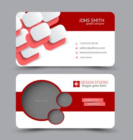 Illustration pour Business card template. Modern flat design. Abstract horizontal banner. Red color. Vector illustration. - image libre de droit