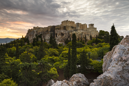Photo for Acropolis as seen from Areopagus hill early in the morning. - Royalty Free Image
