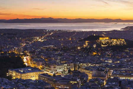 Photo for View of Acropolis and city of Athens from Lycabettus hill at sunset, Greece. - Royalty Free Image