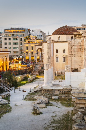 Photo for Remains of the Hadrian's Library and the old mosque in Monastiraki square in Athens. - Royalty Free Image