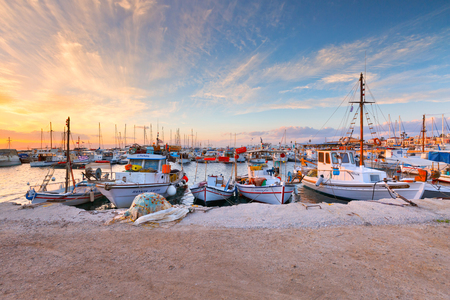 Photo for Aegina, Greece - November 23, 2015: Fishing boats in the harbour of Aegina, Greece. - Royalty Free Image