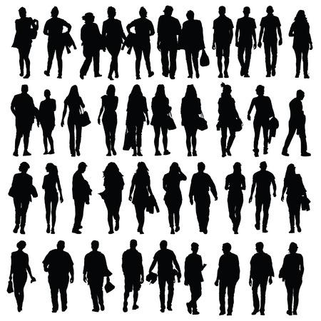 people walking silhouette vector black on white