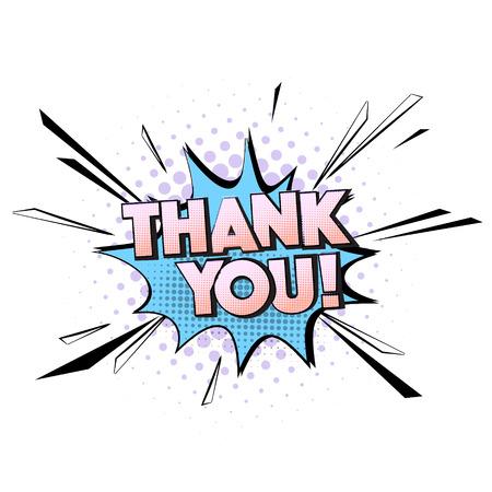 Ilustración de Vector pop art thank you quote. Greeting card typography. Decorative comic pastel blue violet speech. - Imagen libre de derechos