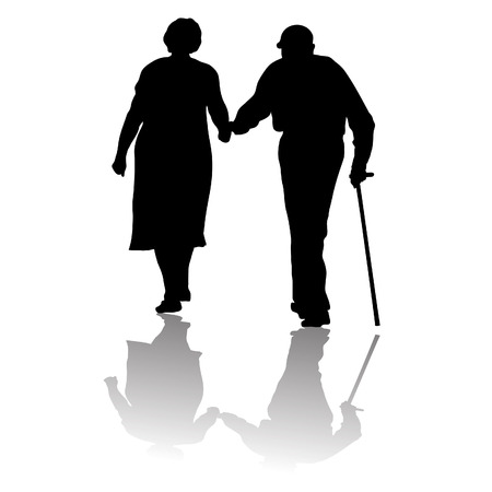 Illustration for silhouette of an old couple keeping for hands - Royalty Free Image