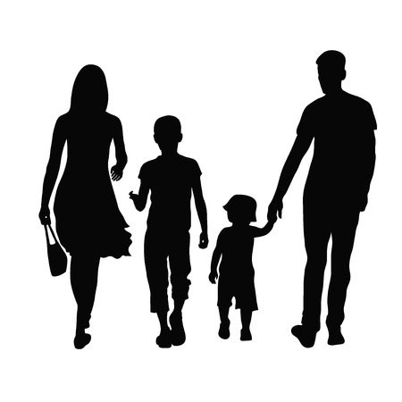 Photo pour Silhouette of parents and children  - image libre de droit