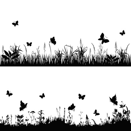 Illustration pour silhouettes grass and twigs of plants with butterflies. vector illustration - image libre de droit