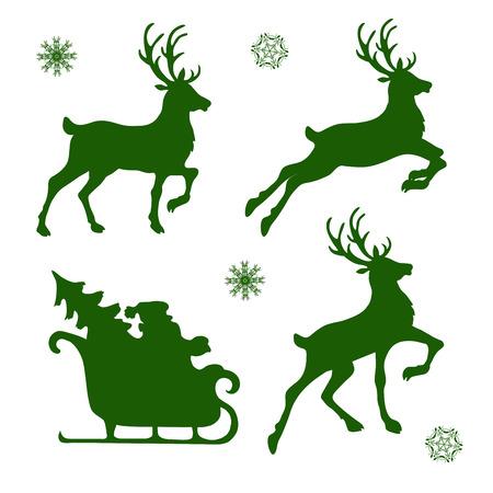 Ilustración de set of silhouettes of Christmas reindeer and Santa - Imagen libre de derechos