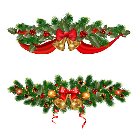 Ilustración de Christmas decorations with fir tree and decorative elements - Imagen libre de derechos