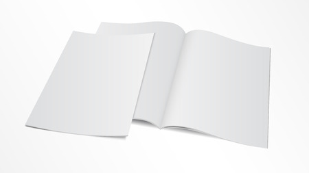 Illustration for Vector illustration. Couple of blank opened magazine template with cover. - Royalty Free Image