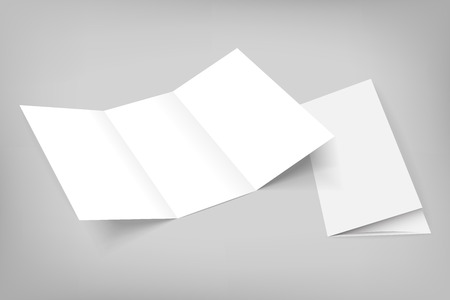 Illustration for Blank mockup tri fold paper opened flyer on gray background with cover. 3D illustration with soft shadows. - Royalty Free Image