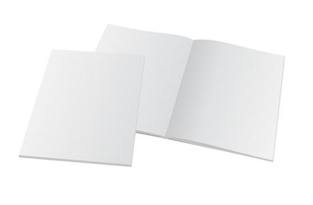 Ilustración de Blank opened magazine with cover. Vector mockup template illustration. - Imagen libre de derechos