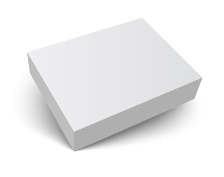 Ilustración de Blank gray box isolated on white. Packaging design 3d template. Vector illustration. - Imagen libre de derechos