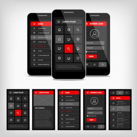 Illustration pour Vector set of modern flat design. Template mobile user interface. - image libre de droit