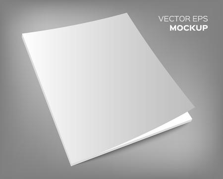 Ilustración de Isolated blank brochure or magazine mockup on grey background. Vector EPS 10 illustration. - Imagen libre de derechos