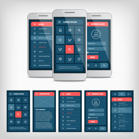 Illustration pour collection of modern flat design. Conception of mobile user interface - image libre de droit