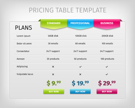 Ilustración de Web pricing table template for business plan. Comparison of services. Vector EPS10 illustration. Colorful 3d chart. - Imagen libre de derechos