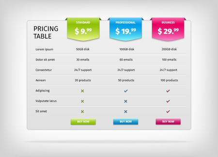 Illustration pour Comparison of services. Web pricing table template for business plan. Vector EPS10 illustration. Colorful 3d chart. - image libre de droit