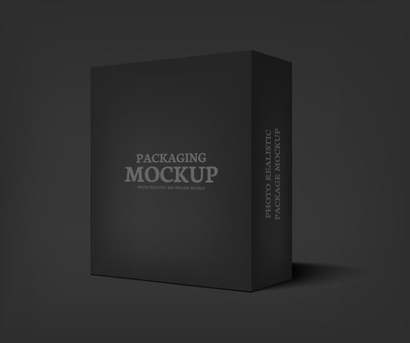 Illustration for Realistic black box on dark gray background. Packaging design template container. Vector illustration - Royalty Free Image