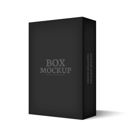 Illustration pour Realistic black box isolated on white background. Mockup template ready for your software packaging design. Vector illustration. - image libre de droit
