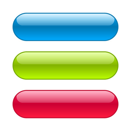Illustration pour Blue, red and green web buttons. Glossy rounded background. - image libre de droit