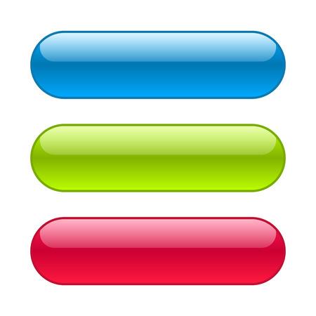 Ilustración de Blue, red and green web buttons. Glossy rounded background. - Imagen libre de derechos