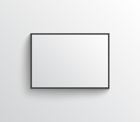 Illustration for White blank poster with black frame on grey wall with shadows. Mock-up vector template. - Royalty Free Image
