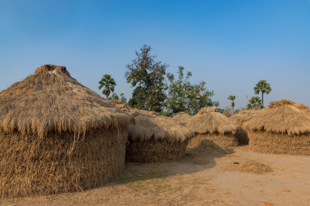 Photo pour haystacks for feeding animal in India with blue sky in background. - image libre de droit