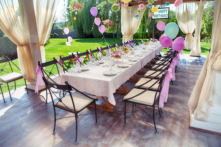 Photo for Beautifully organized event - served festive table waiting for guests - Royalty Free Image