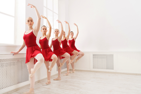 Photo for Young girls dancing ballet in studio. Choreographed dance by a group of graceful pretty young ballerinas practicing during class before performance. Classical dance school - Royalty Free Image