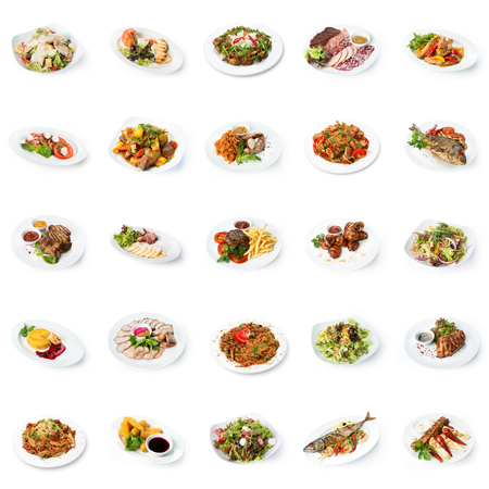 Photo pour Set of various restaurant meals isolated on white background. Collage of different main courses and salads, meat and fish dishes with garnish, cutout, business lunch concept - image libre de droit