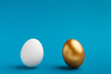 Photo for Elite vs People. White and golden eggs on blue background, copy space - Royalty Free Image
