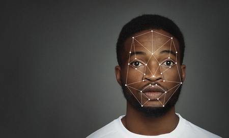 Photo for Futuristic and technological scanning of african-american man face, free space - Royalty Free Image