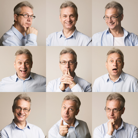 Photo for Set of senior man emotions. Collage of different feelings at gray studio background - Royalty Free Image