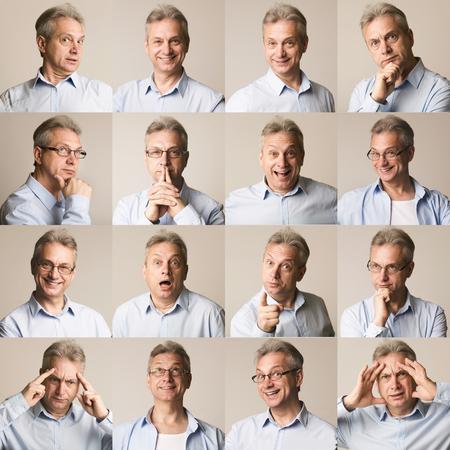 Photo pour Collection of senior businessman expressing different emotions on grey background - image libre de droit