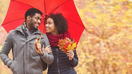 Foto de Family walk. Afro couple under umbrella at rainy day, dating in park, copy space - Imagen libre de derechos