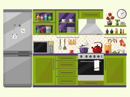 Illustration pour Green kitchen interior with utensils, food and devices. Including fridge, oven, microwave, kettle, pot. Flat style icons and illustration. - image libre de droit