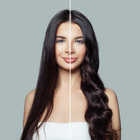 Foto de Beautiful woman before and after using a hair ironing or hair curler for perfect curls. Haircare and hair styling concept - Imagen libre de derechos